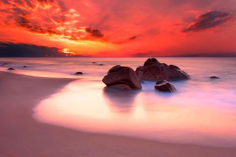 手机壁纸 风景壁纸 夕阳大海