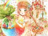 彩色世界中的女孩